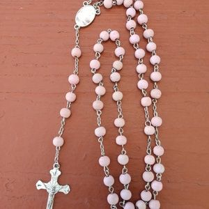 Cotton Pink Plastic Beaded Guardian Angel Rosary